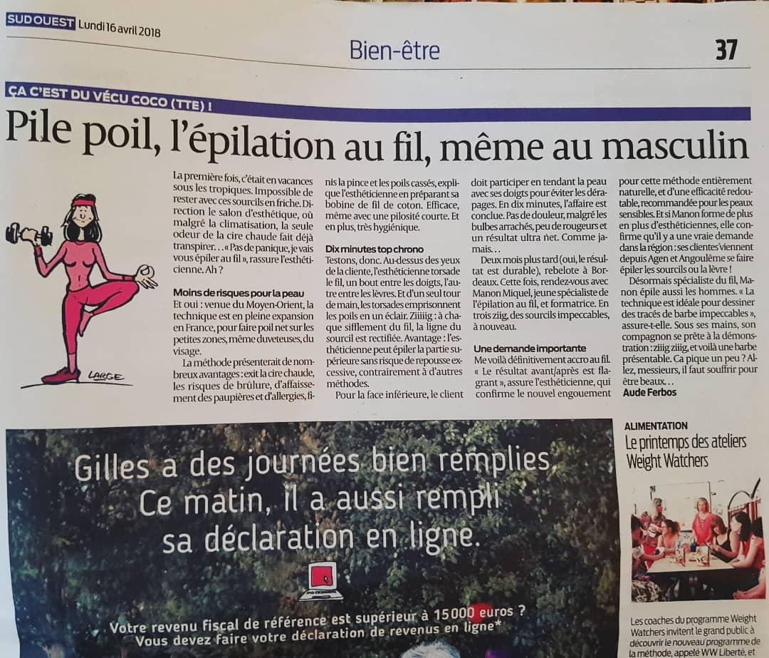 Article Sud Ouest - Épil & fil